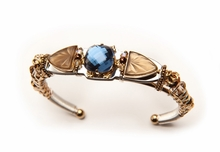 Liztech Jewelry Vintage Navy Tan Faceted Stone Bracelet - Out of Stock