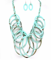 Long Circle Charm and Bead Formica Necklace Set : Women's Fashion Jewelry