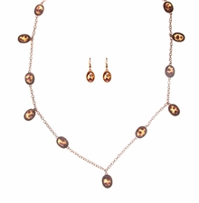 Long Necklace and Earring Set : Gold Plated with Tortoise Cabachons