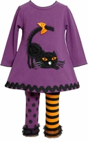 Purple Cat Girl's Halloween Legging Set