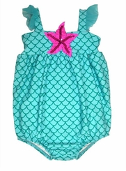 Love U Lots Baby-Girls Aqua Scales Bubble One Piece Swimsuit