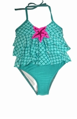 Love U Lots Little Girls Aqua Green Scales Skirted Two Piece Tankini - sold out