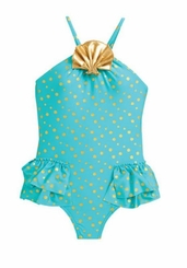 Love U Lots Little Girls' Sea Shell Polka Dot Ruffle One Piece Swimsuit - SOLD OUT