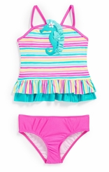 Love U Lots Little Girls Sequin Seahorse Tankini Two-Piece Swimsuit