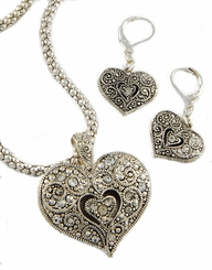Marcasite Heart Pendant Necklace and Earring Set