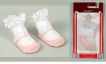 Mary Jane Socks - Light Pink with Lace