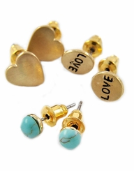 Matte Gold Set of 3 Pairs of Stud Earrings -  Turquoise, Heart and Love Post Earrings