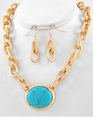 Matte Gold Tone Turquoise  Semi Precious Stone Pendent Link Necklace Set