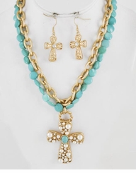Matte Gold Turquoise Cross Necklace and Earring Set
