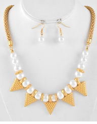 Matte Gold White Pearl Triangle Charm Necklace & Earring Set