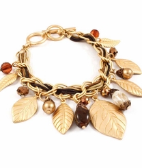 Matte Gold Wrap Cord Charm Bracelet Autumn Leaves - Out of Stock