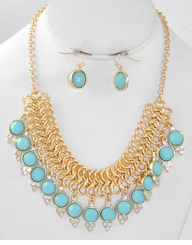 Mint Gold Necklace and Earring Set