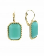 Mint Green,Gold Rectangle Drop Earrings with Lever Back