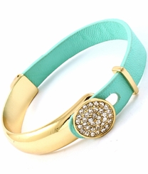 Mint Leather Gold Plated Pave Latch Bangle