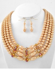 Mocha Pearl Necklace Multi Row and Earring Set