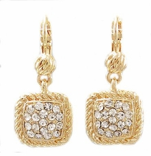 Modern Gold Dangle Earrings - Crystal Pave Square Rope Trim - SOLD OUT