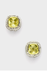 Modern Square Cubic Zirconia Yellow Jonquil Earrings - Silver with French Back