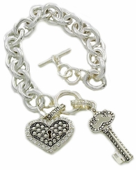 Mommy Jewelry - Heart and Key Toggle Charm Bracelet - Back in Stock