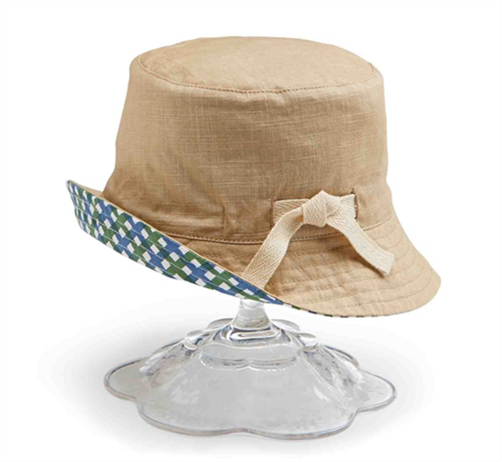The My Swim Baby Wilma the Whale Sun Hat protects your baby's head and face from the sun's harsh rays. The reversible brim has a cute whale print on one side and coordinating solid on the other and ties under the chin to keep your Swim Baby covered.