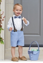 Mud Pie Baby-Boys Chambray 3 Pc Suit Set