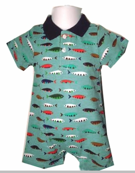 Mud Pie Baby Boys Fish Polo Coverall - sold out
