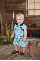 Mud Pie Baby Boys Fish Polo Coverall