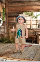 Mud Pie Baby Boys Fish Shortall - Boys One Piece - OUT OF STOCK