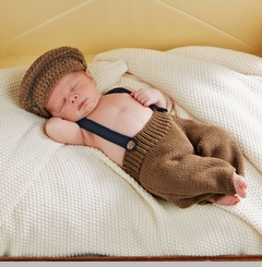 Mud Pie Baby-Boys Newborn Knit Suspender & Cap Set