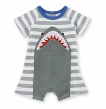Mud Pie baby Boys Shark Snap-Mouth Shortall