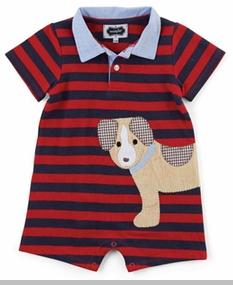 Mud Pie Baby Boys Stripe Polo One Piece Outfit