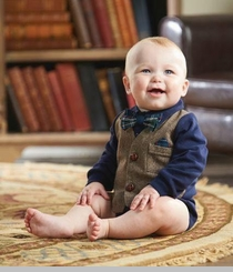 Mud Pie Baby-Boys Tweed Vest Crawler - SOLD OUT