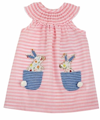 Mud Pie Baby Girl's Bunny Pocket Easter Dress