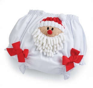 Mud Pie Baby Girl's Christmas Bloomers: White and Red Santa Infant Girl's Bloomers