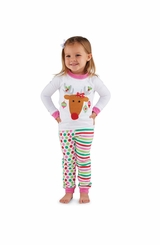 Mud Pie Baby Girl's Reindeer Lounge Set: Multi Color  Infant Girl's Chistmas Pajama Set