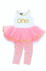 Mud Pie Baby-Girls 1st Birthday Dress - First Birthday Tunic Dress Set -out of stock