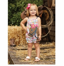 Mud Pie Baby Girls 2 Pc Set Horse Bubble and Fuchsia Headband Bow