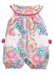 Mud Pie Baby-Girls Bunny Pocket Easter Romper  IN STOCK