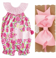 Mud Pie Baby Girls 2 Pc Set: Easter Bunny Floral Bubble and Headband Bow Set