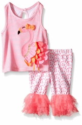 Mud Pie Baby Girls Flamingo Capri Set