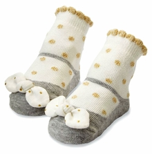 Mud Pie Baby Girls Gold Dot Bow Socks