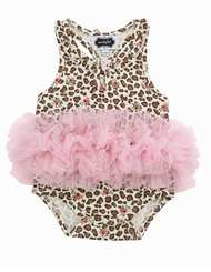 Mud Pie Baby Girls Leopard Tutu Crawler - Girls Onesie