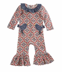Mud Pie Baby-Girls Newborn Bird Pocket One Piece