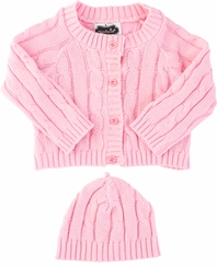Mud Pie Baby Girls Newborn Cardigan and Hat Gift Set : Pink