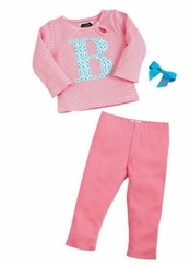 Mud Pie Baby Girls Newborn Gift : Choose  Initial Tunic Legging Bow Set 0-6 months