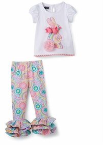 Mud Pie Baby-Girls Paisley Bunny Tunic Legging Set