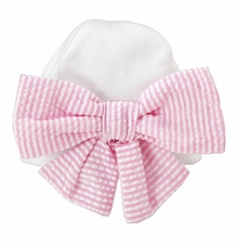 Mud Pie Baby Girls Pink Seersucker Newborn Cap