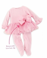 Mud Pie Baby-Girls Pink Velour Tutu Sleeper