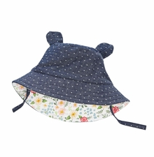 Mud Pie Baby Girls Reversible Dot Floral Sunhat