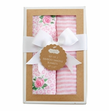 Mud Pie Baby Girls Rose Swaddle Set