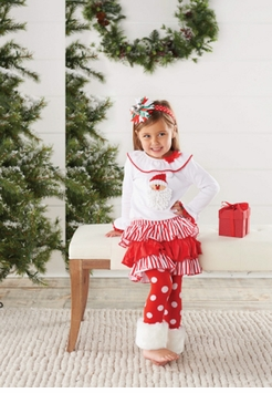 Mud Pie Christmas Outfit: Toddler or Infant Santa Fur Cuff Pant Set - SOLD OUT